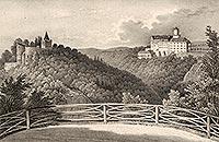 Zamek Książ - Zamek Stary Książ i Książ na litografii Eduarda Pietzscha, Borussia 1838