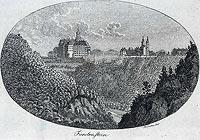 Zamek Książ - Zamek Książ na miedziorycie Friedricha Gottloba Endlera z początków XIX wieku