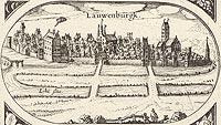 Zamek w Lęborku - Panorama miasta z widokiem zamku (trzykondygnacyjny budynek w lewej części) z rysunku na mapie Eilharda Lubinusa z 1618 roku