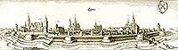 Zamek w Legnicy - Panorama Legnicy na sztychu Matth�usa Meriana z dzie�a 'Topographia Bohemiae, Moraviae et Silesiae' z 1650 roku