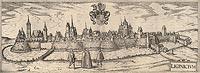 Zamek w Legnicy - Panorama Legnicy na przełomie XVI i XVII wieku, miedzioryt z dzieła Georga Brauna i Franza Hogenberga 'Civitates orbis terrarum'