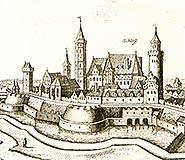 Zamek w Legnicy - Zamek w Legnicy na sztychu Matth�usa Meriana z dzie�a 'Topographia Bohemiae, Moraviae et Silesiae' z 1650 roku