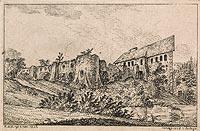 Zamek w Lesku - Rysunek Wincentego Kajetana Kielisińskiego z 1835 roku