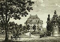 Zamek w Leśnicy - Pałac w Leśnicy na miedziorycie Johanna Carla Richtera sprzed 1832 roku
