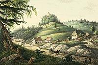 Zamek Homole w Ludowem - Zamek Homole na litografii Theodora Sachse z około 1840 roku
