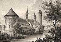 Lidzbark Warmiński - Zamek w Lidzbarku na litografii Eduarda Pietzscha, Borussia 1839