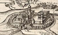Zamek w Łowiczu - Zamek w Łowiczu na przełomie XVI i XVII wieku, fragment miedziorytu z dzieła Georga Brauna i Franza Hogenberga 'Civitates orbis terrarum'
