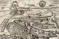 Zamek w Łowiczu - Panorama Łowicza na przełomie XVI i XVII wieku, miedzioryt z dzieła Georga Brauna i Franza Hogenberga 'Civitates orbis terrarum'