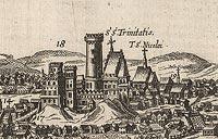 Zamek w Lublinie - Zamek w Lublinie na przełomie XVI i XVII wieku, fragment miedziorytu z dzieła Georga Brauna i Franza Hogenberga 'Civitates orbis terrarum'
