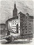 Zamek w Malborku - Wjazd na Zamek Wysoki na grafice z okresu międzywojennego