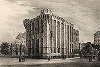 Zamek w Malborku - Pałac Wilkich Mistrzów zamku malborskiego na litografii Eduarda Pietzscha, Borussia 1838