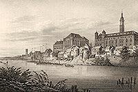 Zamek w Malborku - Zamek w Malborku na litografii Eduarda Pietzscha, Borussia 1839
