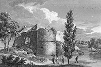 Zamek w Międzyrzeczu - Ruiny zamku w Międzyrzeczu na litografii Edwarda Raczyńskiego, Wspomnienia Wielkopolski to jest województw poznańskiego, kaliskiego i gnieźnieńskiego, 1842