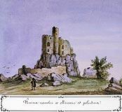 Zamek Mirów - Zamek Mirów od południa, akwarela Teodora Chrząńskiego, 'Kazimierza Stronczyńskiego opisy i widoki zabytków w Królestwie Polskim (1844-1855)'