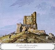 Zamek Mirów - Zamek Mirów od zachodu, akwarela Teodora Chrząńskiego, 'Kazimierza Stronczyńskiego opisy i widoki zabytków w Królestwie Polskim (1844-1855)'