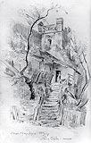 Zamek w Nowym Sączu - Baszta Kowalska na rysunku Stanisława Wyspiańskiego z 1889 roku