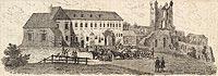 Zamek w Nowym Sączu - Drzeworyt Mściwoja Marynowskiego, Przyjaciel Ludu 47, 1840 ze zbiorów Biblioteki Instytutu Badań Literackich PAN
