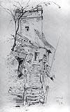 Zamek w Nowym Sączu - Baszta Kowalska na rysunku Józefa Mehoffera z 1889 roku