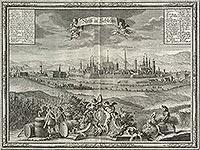 Nysa - Nysa na rycinie Martina Engelbrechta według Friedricha Bernharda Wernhera z 1750 roku, zamek oznaczony numerem 6
