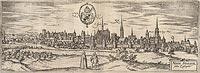 Zamek w Nysie - Panorama Nysy na przełomie XVI i XVII wieku, miedzioryt z dzieła Georga Brauna i Franza Hogenberga 'Civitates orbis terrarum'