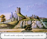 Ojców - Ruiny zamku w Ojcowie, akwarela Teodora Chrząńskiego, 'Kazimierza Stronczyńskiego opisy i widoki zabytków w Królestwie Polskim (1844-1855)'