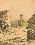 Zamek w Ojcowie - Zamek w Ojcowie na litografii z 1847 roku