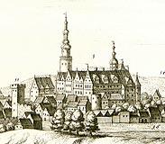 Zamek w Oleśnicy - Zamek w Oleśnicy na sztychu Matthäusa Meriana z dzieła 'Topographia Bohemiae, Moraviae et Silesiae' z 1650 roku