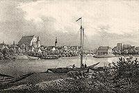 Zamek na Ostrówku w Opolu - Miasto i zamek po prawej stronie na litografii Eduarda Pietzscha, Borussia 1842