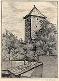 Zamek w Oświęcimiu - Wieża zamku oświęcimskiego na rysunku Ignacego Łopieńskiego z 1931 roku