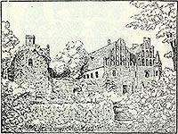 Zamek w Pęzinie - Zamek w Pęzinie na rysunku z przełomu XIX i XX wieku