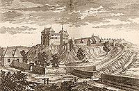 Zamek w Pińczowie - Zamek na sztychu Erika Dahlbergha z dzieła Samuela Pufendorfa 'De rebus a Carolo Gustavo gestis', 1656 rok