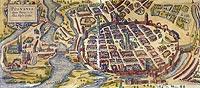 Zamek w Poznaniu - Poznań w XVII wieku z zamkiem po prawej stronie