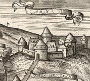 Zamek Kazimierzowski w Przemyślu - Zamek w Przemyślu na przełomie XVI i XVII wieku, fragment miedziorytu z dzieła Georga Brauna i Franza Hogenberga 'Civitates orbis terrarum'