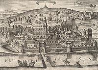 Zamek Kazimierzowski w Przemyślu - Panorama Przemyśla na przełomie XVI i XVII wieku, miedzioryt z dzieła Georga Brauna i Franza Hogenberga 'Civitates orbis terrarum'