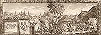 Pułtusk - Zamek na sztychu Erika Dahlbergha z dzieła Samuela Pufendorfa 'De rebus a Carolo Gustavo gestis', 1656 rok