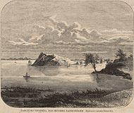Zamek w Rajgrodzie - Zamczysko w Rajgrodzie na drzeworycie W.Czajkowskiego według rysunku Kazimierza Górnickiego z 1867 roku
