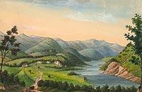 Zamek w Rożnowie - Rożnów ze starym i nowym zamkiem na rysunku z okresu 1820-50