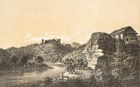 Zamek w Rożnowie-Łaziskach - Rozwaliny zamku w Rożnowie w obwodzie Sandeckim, od południa, litografia Macieja Bohusza Stęczyńskiego z 1846 roku
