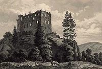 Zamek w Rybnicy - Ruiny zamku w początkach XIX wieku na rycinie Hubera