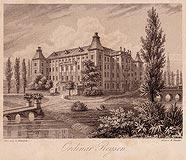 Zamek w Rydzynie - Zamek w Rydzynie na litografii H.Finckego z 1835 roku