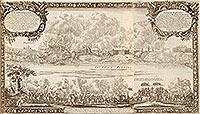 Zamek w Sandomierzu - Panorama miasta i zamek podczas oblężenia przez Szwedów na sztychu Erika Dahlbergha z dzieła Samuela Pufendorfa 'De rebus a Carolo Gustavo gestis', 1656 rok