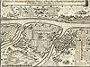 Sandomierz - Wojska szwedzkie pod Sandomierzem na sztychu Matthäusa Meriana z 1656 roku