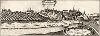 Sandomierz - Panorama miasta na przełomie XVI i XVII wieku, miedzioryt z dzieła Georga Brauna i Franza Hogenberga 'Civitates orbis terrarum'