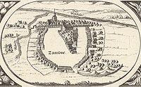 Zamek w Sianowie - Sianów na rysunku z mapy Eilharda Lubinusa z 1618 roku