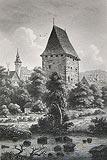 Wieża rycerska w Siedlęcinie - Staloryt Huberta według rysunku R.Dreschera z około 1880 roku  [<a href=/bibl_ksiazka.php?idksiazki=145&wielkosc_okna=d onclick='ksiazka(145);return false;'>źródło</a>]