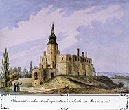 Zamek w Siewierzu - Zamek w Siewierzu, akwarela Teodora Chrząńskiego, 'Kazimierza Stronczyńskiego opisy i widoki zabytków w Królestwie Polskim (1844-1855)'