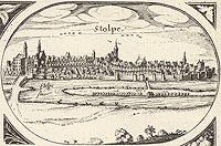Zamek w Słupsku - Panorama miasta z widokiem zamku. Rysunek na mapie Eilharda Lubinusa z 1618 roku