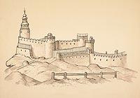 Zamek Chojnik w Sobieszowie - Widok zamku przed pożarem w 1675 roku według Schlesische Heimat-Blatter, 1908