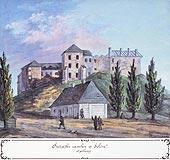 Zamek w Solcu nad Wisłą - Ruiny zamku w Solcu nad Wisłą, akwarela Teodora Chrząńskiego, 'Kazimierza Stronczyńskiego opisy i widoki zabytków w Królestwie Polskim (1844-1855)'
