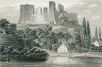 Zamek Drahim w Starym Drawsku - Ruiny zamku według ryciny Konstancji hrabiny Raczyńskiej z 1843 roku, Edward Raczyński, Wspomnienia Wielkopolski